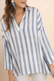 Umgee USA Striped Collared Tunic - Front cropped