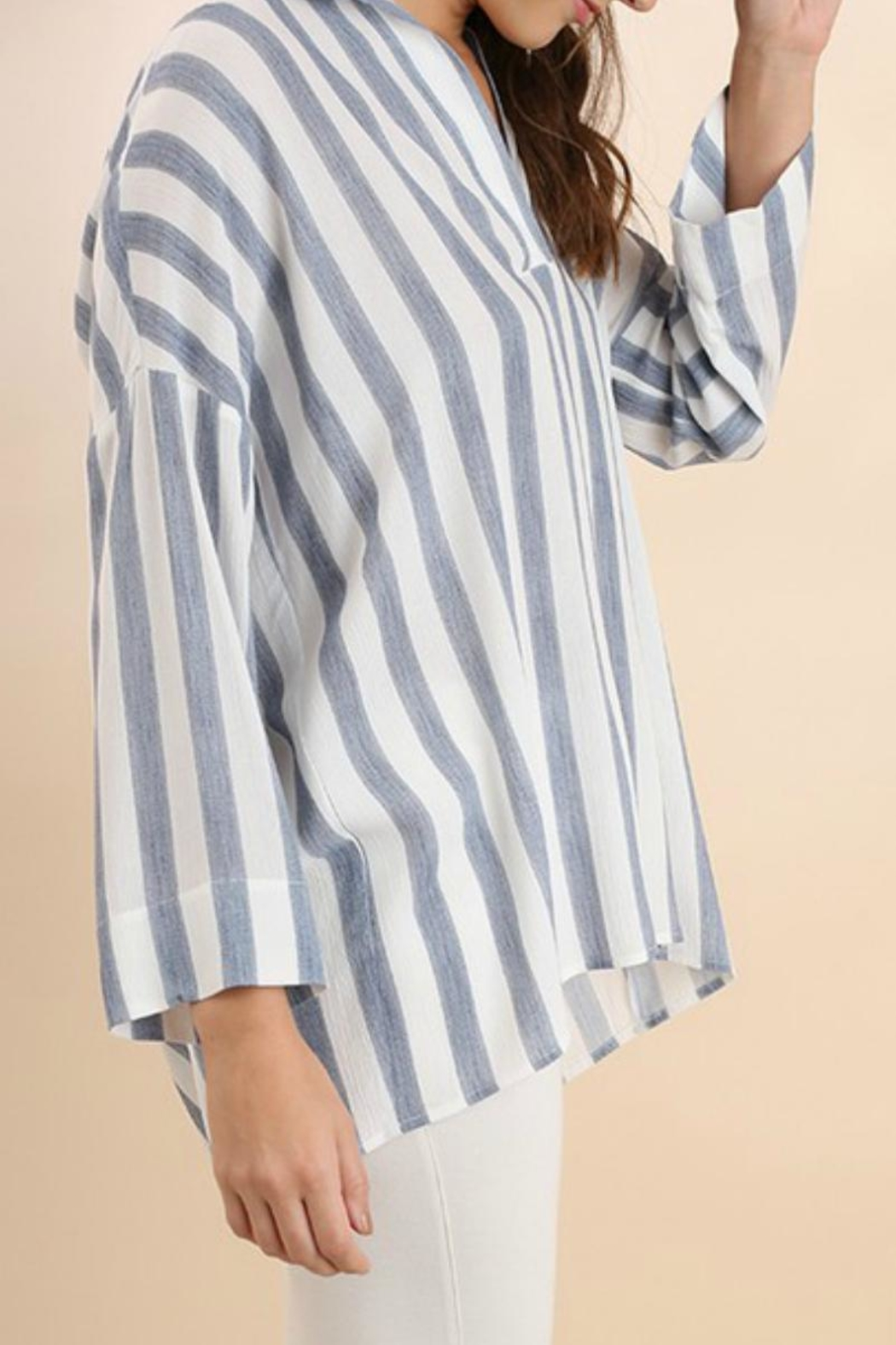 Umgee USA Striped Collared Tunic - Front Full Image
