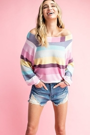 eesome Striped Color Block Off Shoulder Top - Front full body