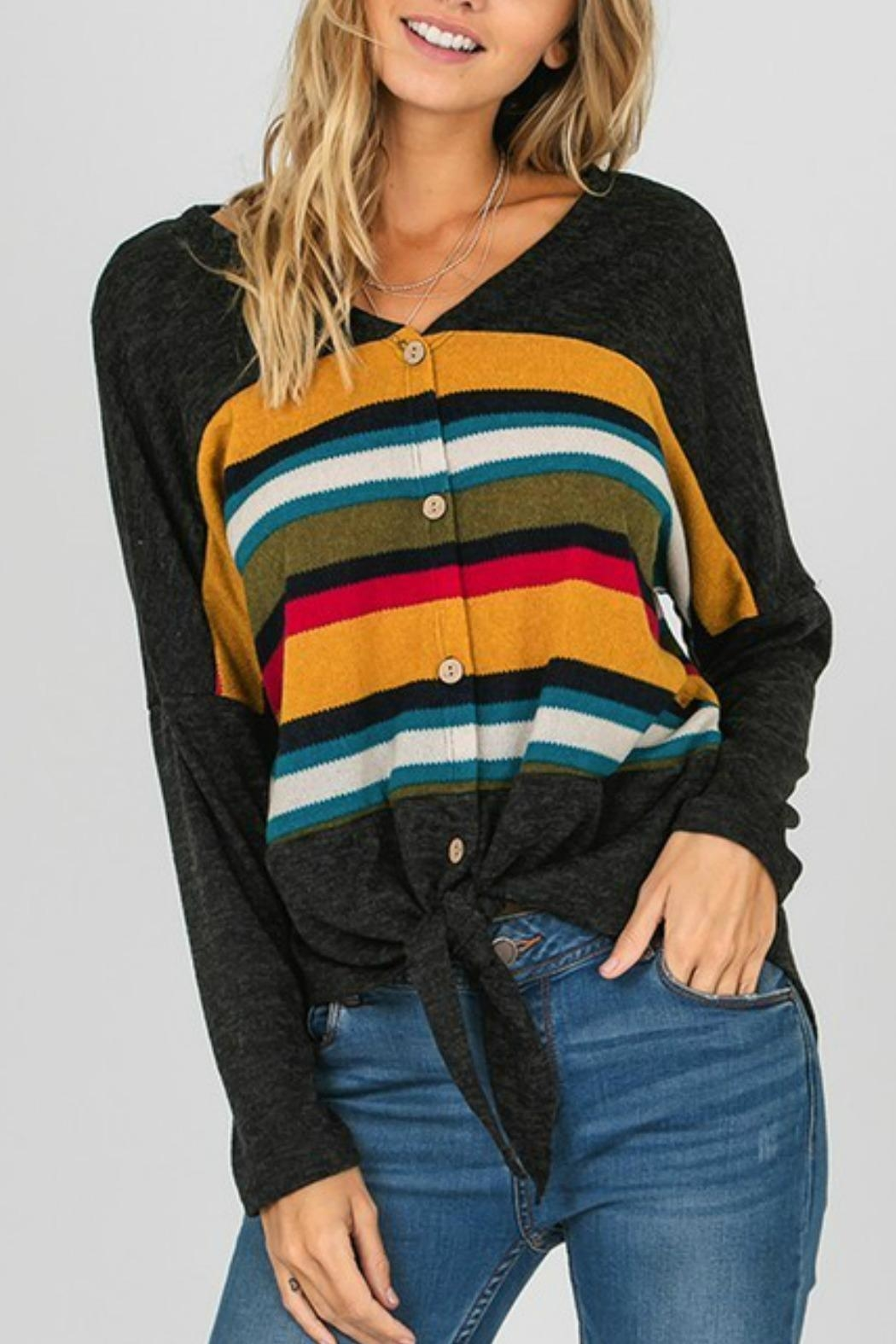 Fashion District Striped Color Top - Main Image