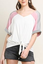 Umgee USA Striped Colorblock Top - Front cropped