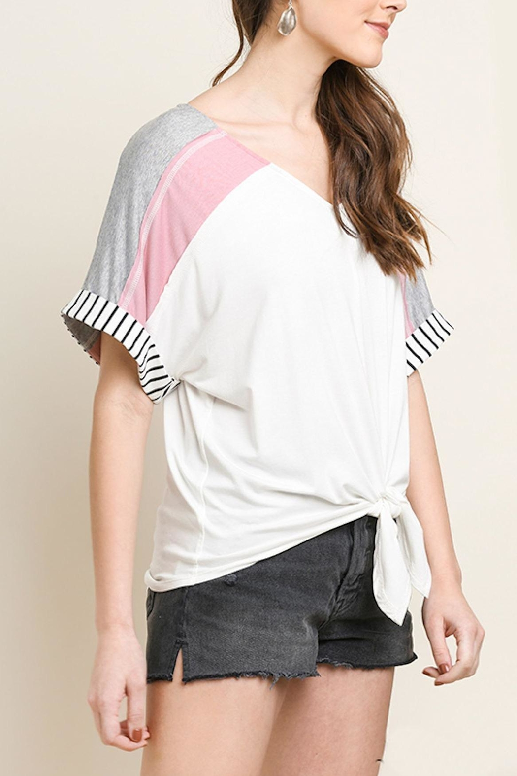 Umgee USA Striped Colorblock Top - Side Cropped Image