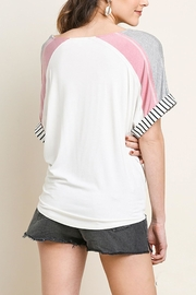 Umgee USA Striped Colorblock Top - Front full body