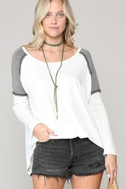 KyeMi Striped Contrast Jersey Top - Product Mini Image