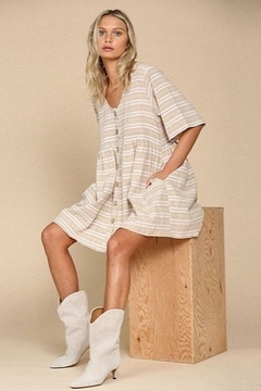 By Together  Striped Cotton Gauze Dress with Pockets - Alternate List Image