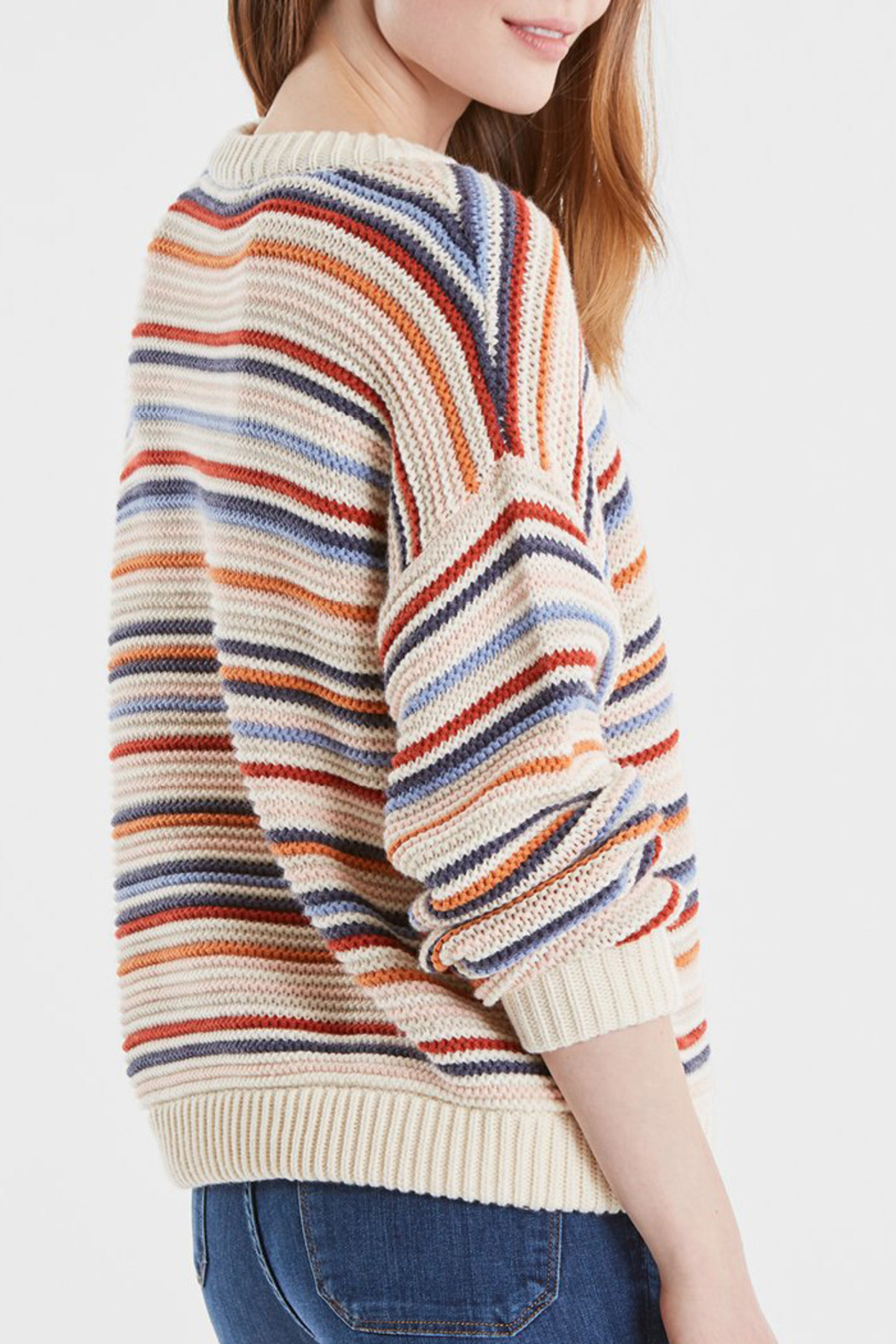 525 America STRIPED CREWNECK SWEATER - Side Cropped Image