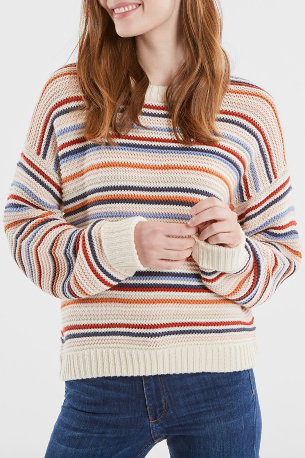 525 America STRIPED CREWNECK SWEATER - Front Full Image