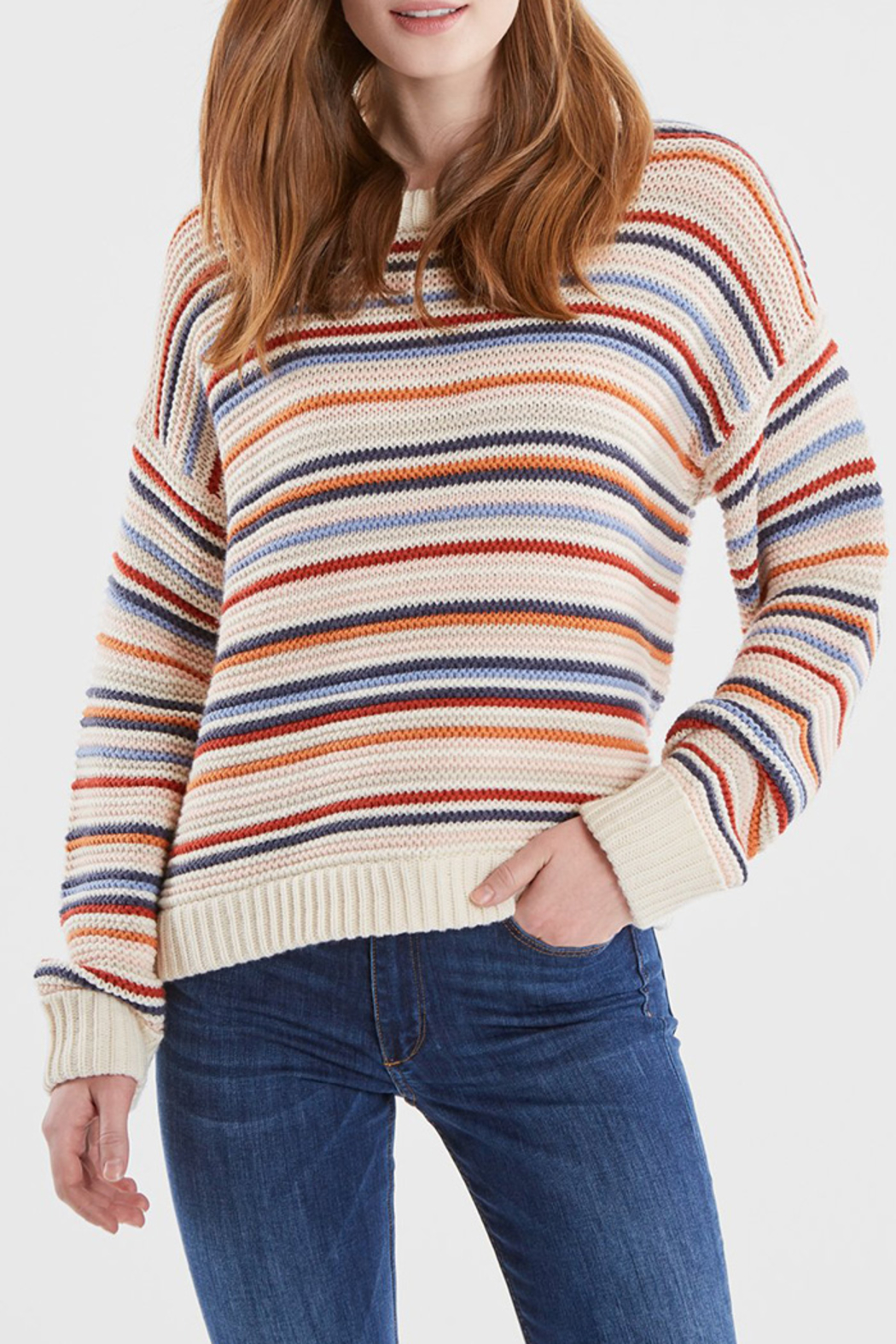 525 America STRIPED CREWNECK SWEATER - Main Image