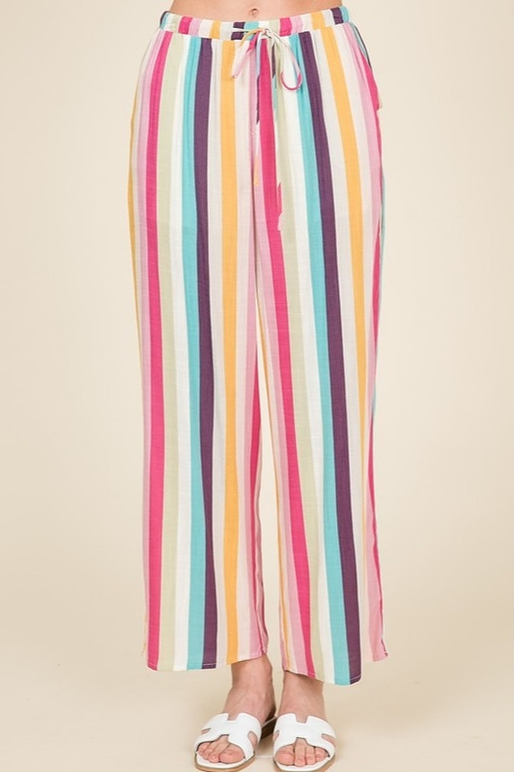 Lumiere Striped Crop Pant - Front Cropped Image