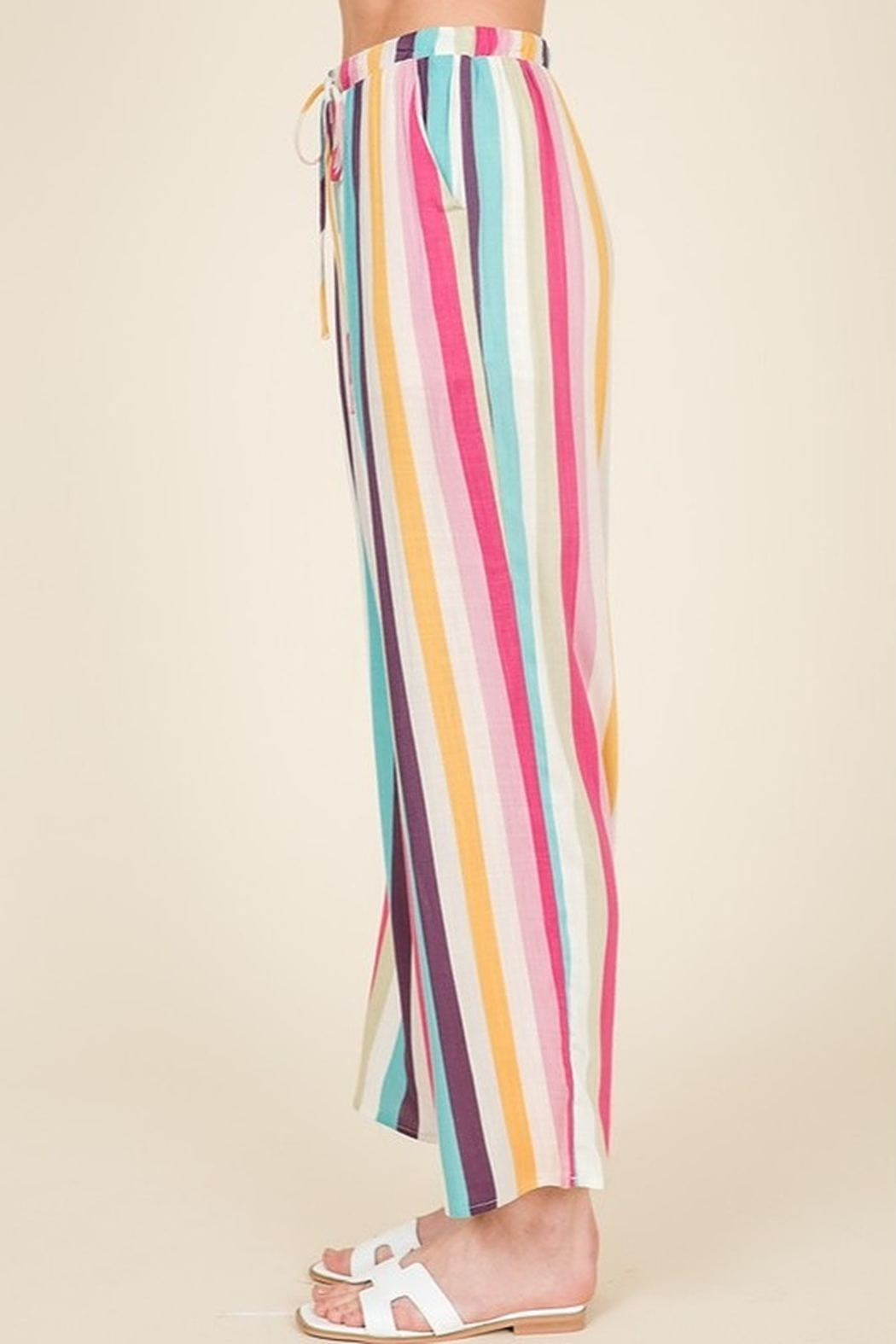 Lumiere Striped Crop Pant - Front Full Image