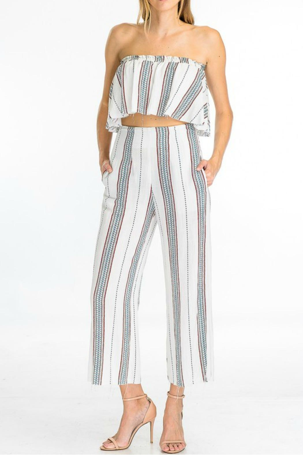 Olivaceous Striped Crop Pant - Main Image