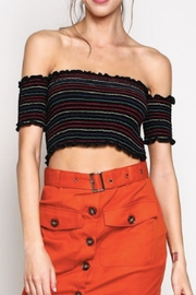blue blush Striped Crop Top - Front cropped