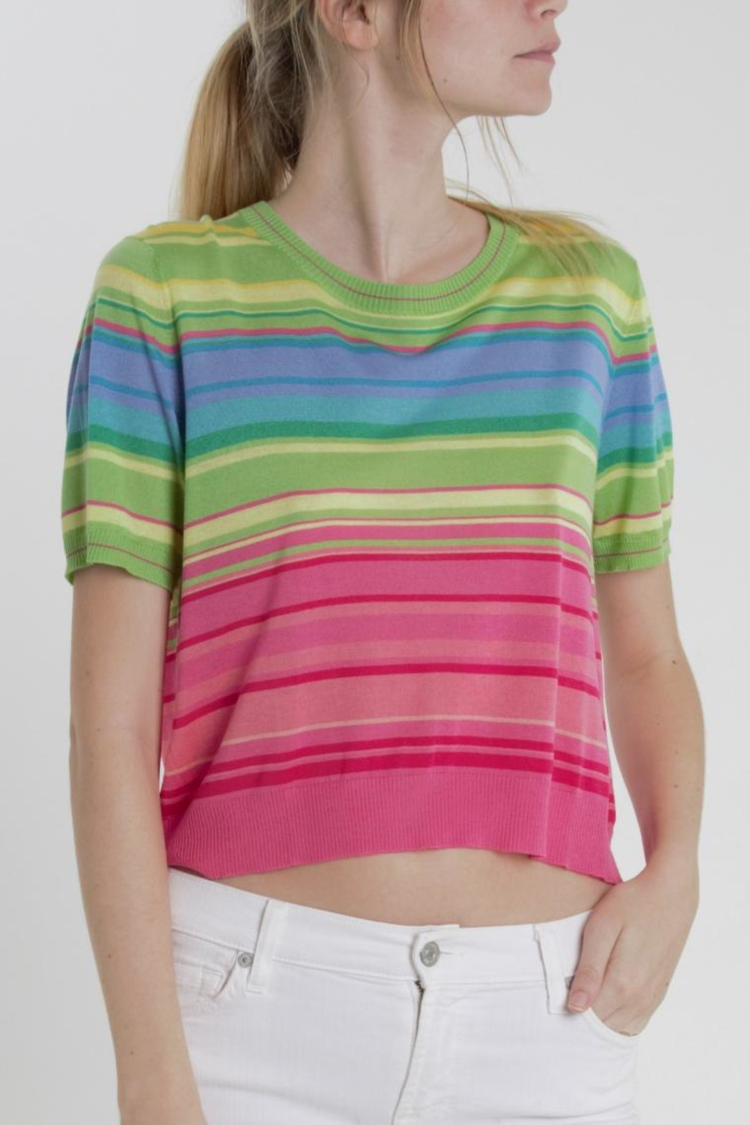 Thread+Onion Striped Crop Top - Main Image