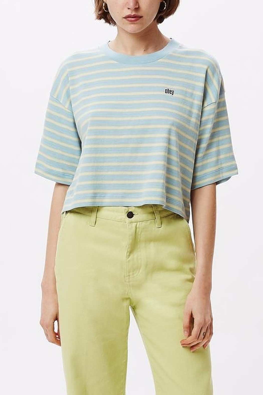 Obey Striped Crop Top - Front Cropped Image