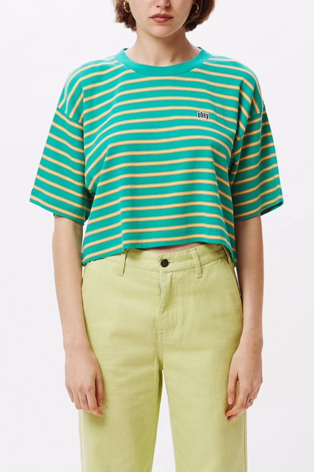 Obey Striped Crop Top - Main Image