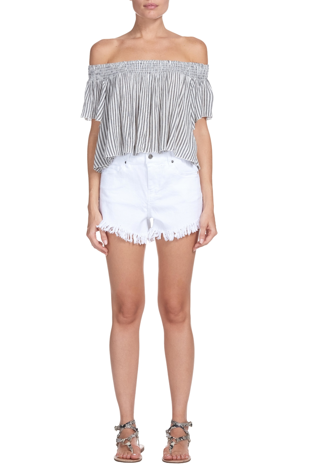 Elan Striped Crop Top - Main Image