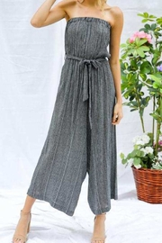 Davi & Dani Striped Cropped Strapless Jumpsuit - Product Mini Image