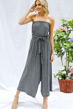 Davi & Dani Striped Cropped Strapless Jumpsuit - Product List Image