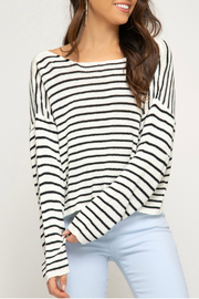 She & Sky  Striped cropped sweater - Product Mini Image