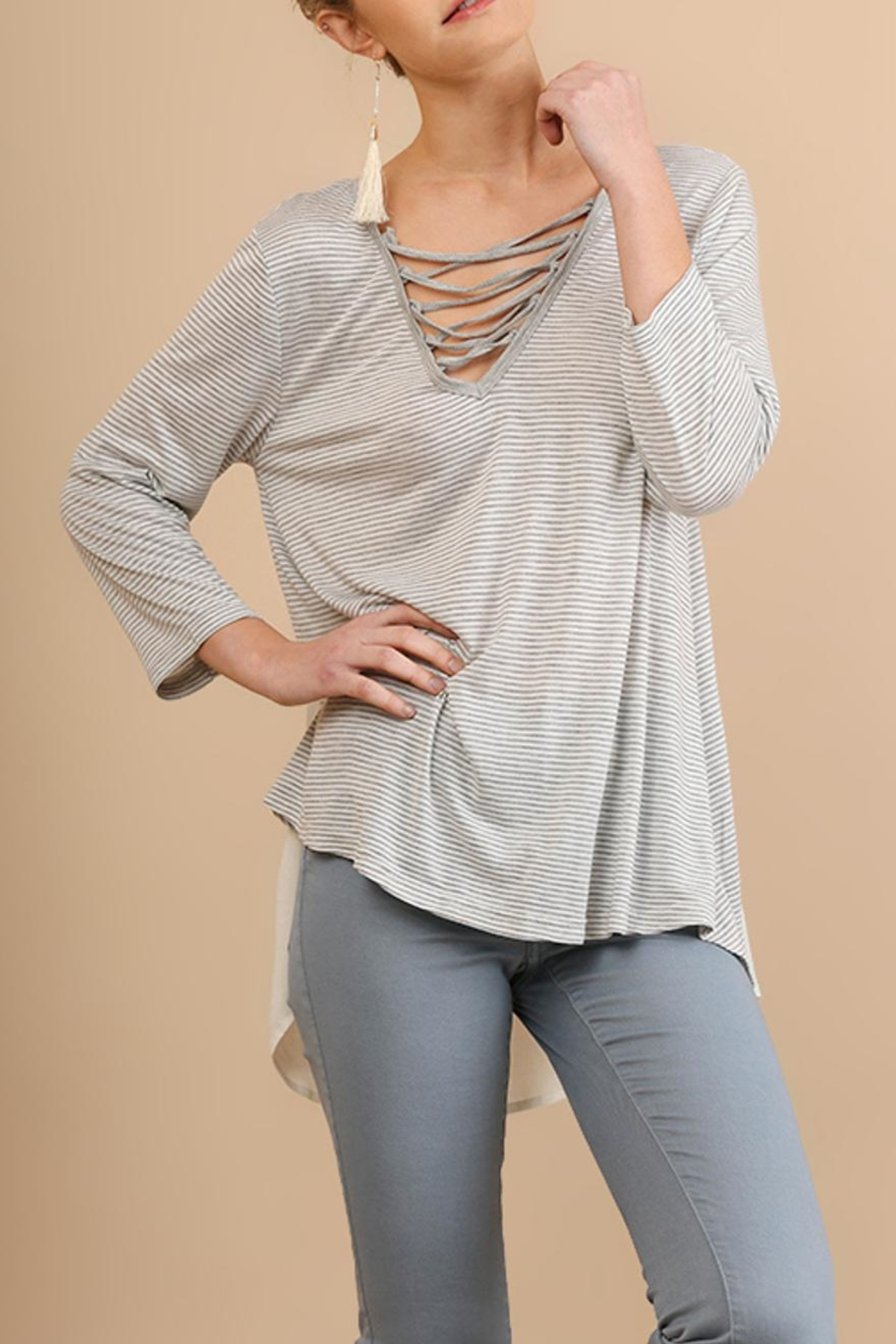 Umgee USA Striped Crossed V-Neck - Front Cropped Image