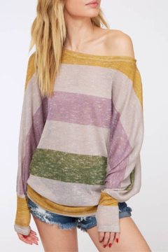Shoptiques Product: Striped Cuff Sleeve Top