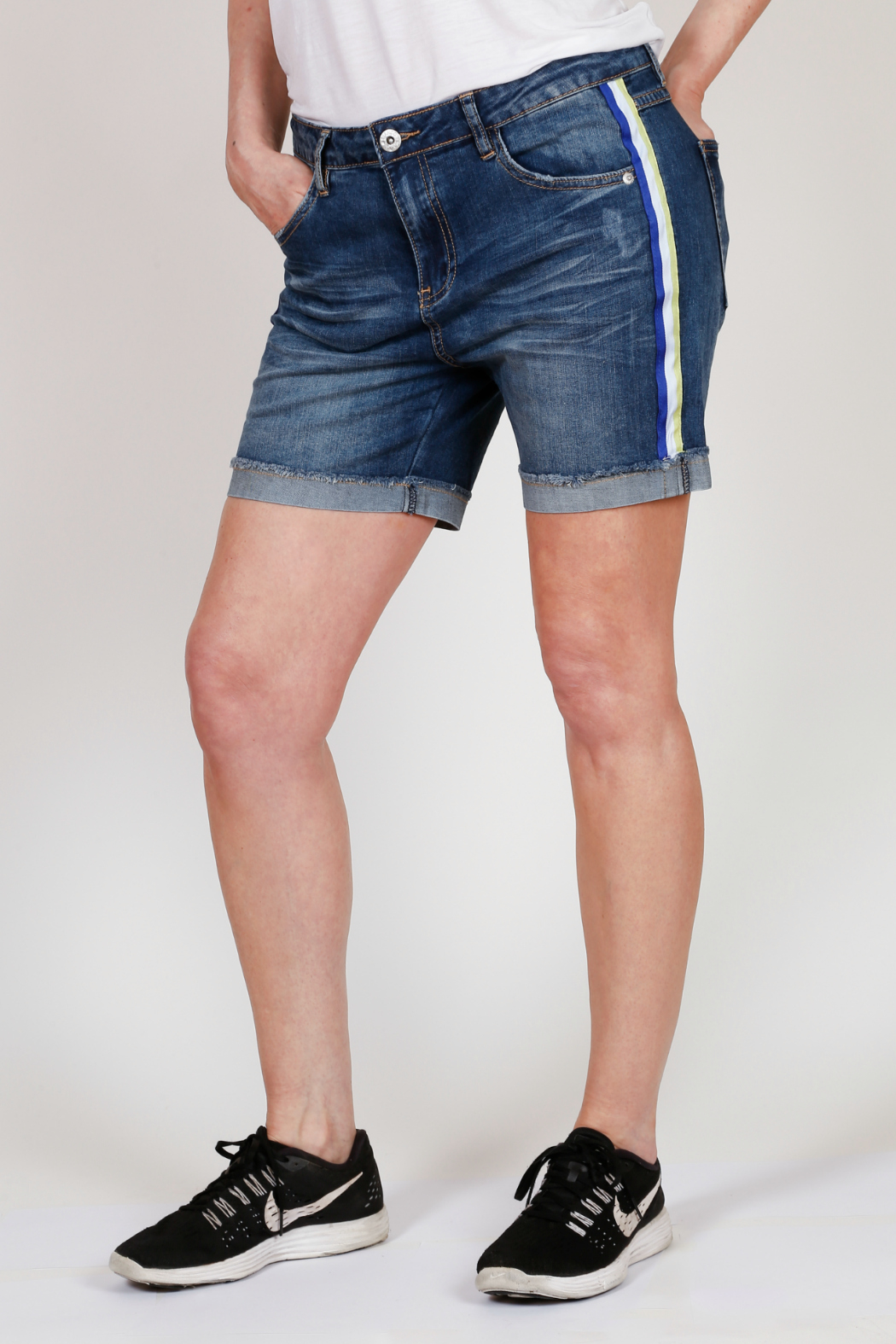 Bianco Jeans Striped Cuffed Denim Shorts - Front Full Image