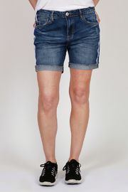 Bianco Jeans Striped Cuffed Denim Shorts - Front cropped