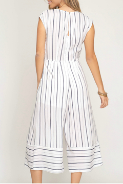 She & Sky  Striped culotte jumpsuit with front tie detail - Alternate List Image