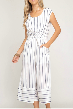 She & Sky  Striped culotte jumpsuit with front tie detail - Product List Image