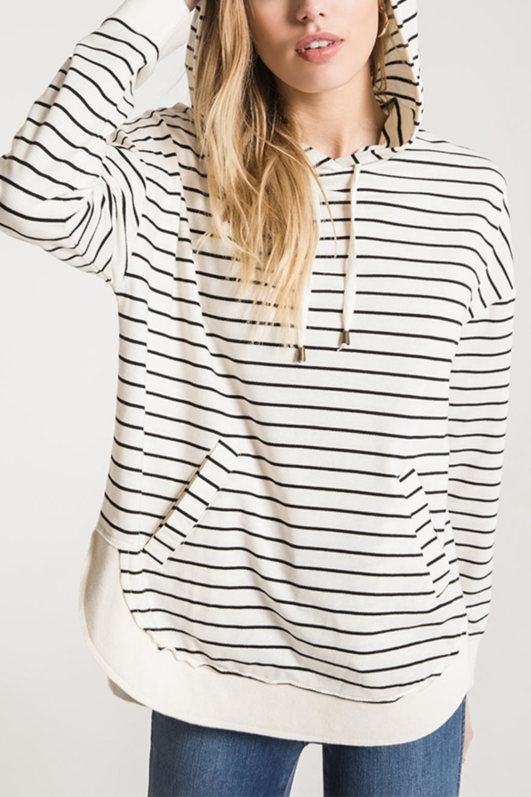 z supply Striped Dakota Pullover Hoodie - Front Cropped Image