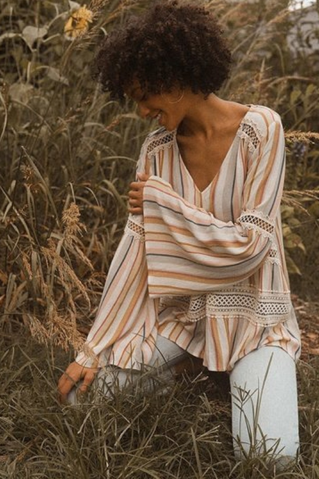 Promesa Striped Dolman Sleeve Blouse - Front Full Image
