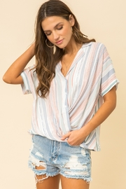 Hem and Thread Striped Dolman Sleeve Crossover Top - Product Mini Image