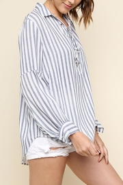 Umgee USA Striped Drawstring Top - Front full body