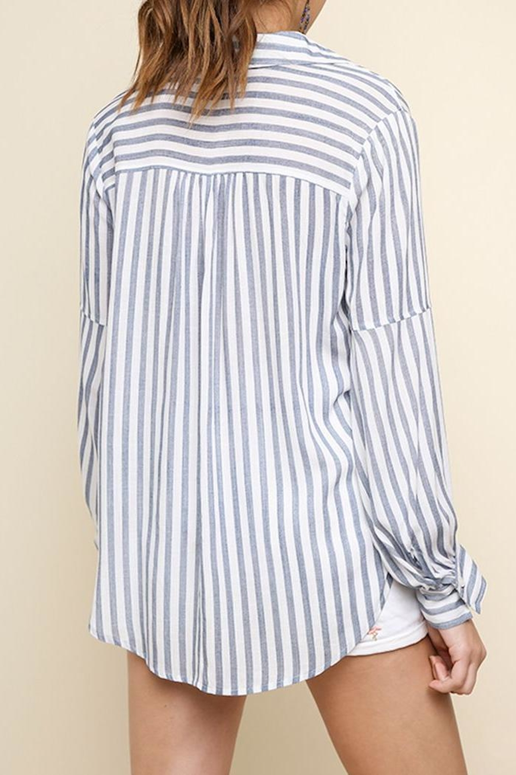 Umgee USA Striped Drawstring Top - Side Cropped Image