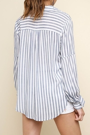 Umgee USA Striped Drawstring Top - Side cropped