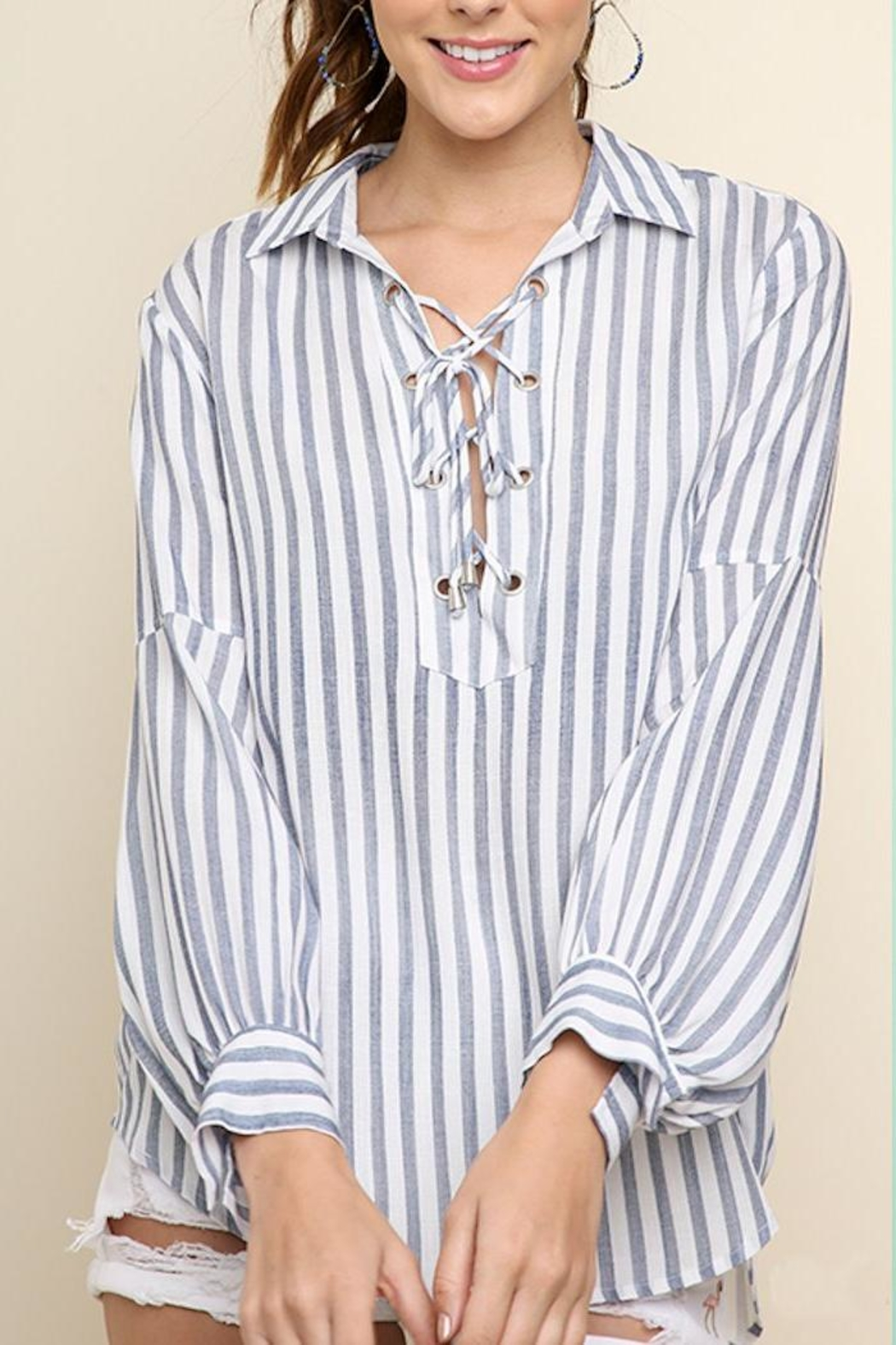 Umgee USA Striped Drawstring Top - Main Image
