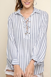 Umgee USA Striped Drawstring Top - Front cropped