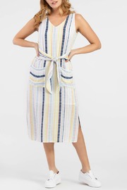 Tribal Striped dress with a tie front - Front cropped