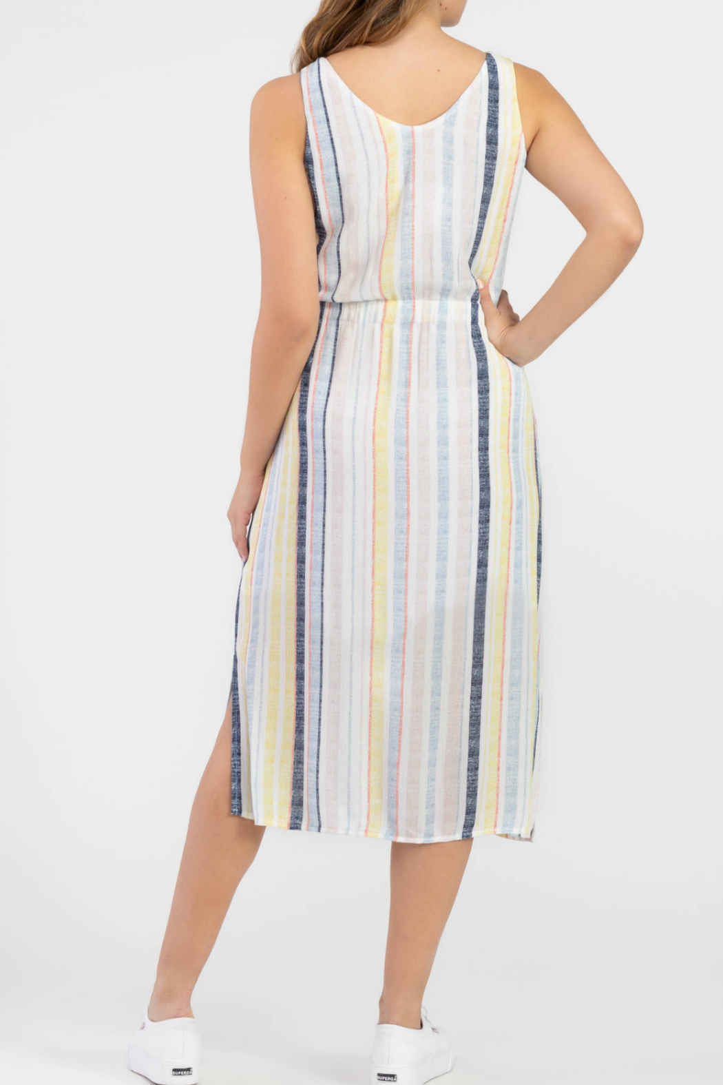 Tribal Striped dress with a tie front - Front Full Image