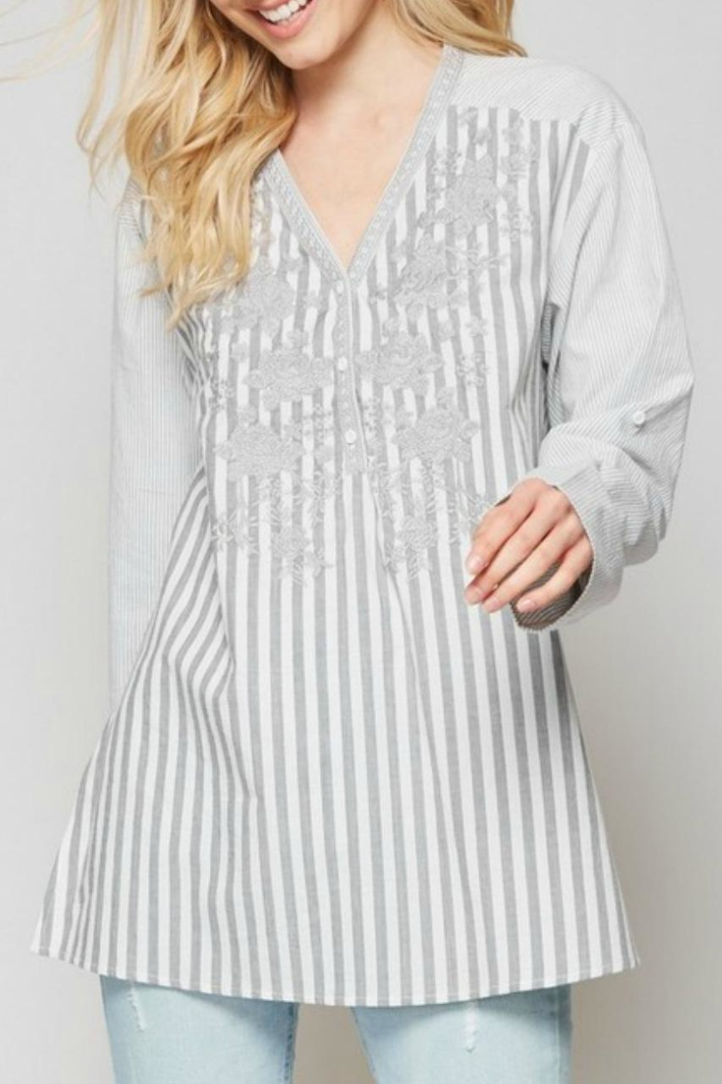 Andree by Unit Striped Embroidered Blouse - Main Image