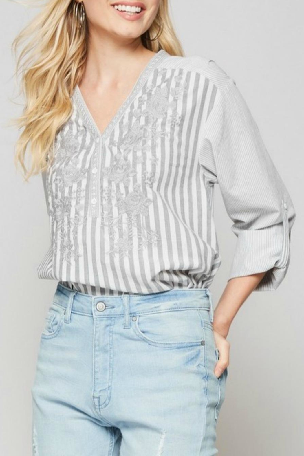 Andree by Unit Striped Embroidered Blouse - Front Full Image