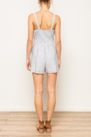 Hem & Thread Striped Embroidered Romper - Front full body