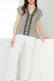 THML Clothing Striped Embroidered Top - Product Mini Image