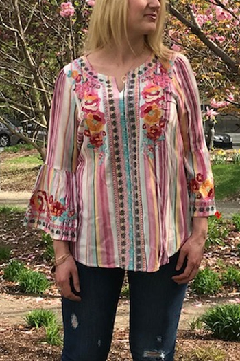 8b7d57d8c467ba The Vintage Valet Striped Embroidered Top from Pittsburgh — Shoptiques