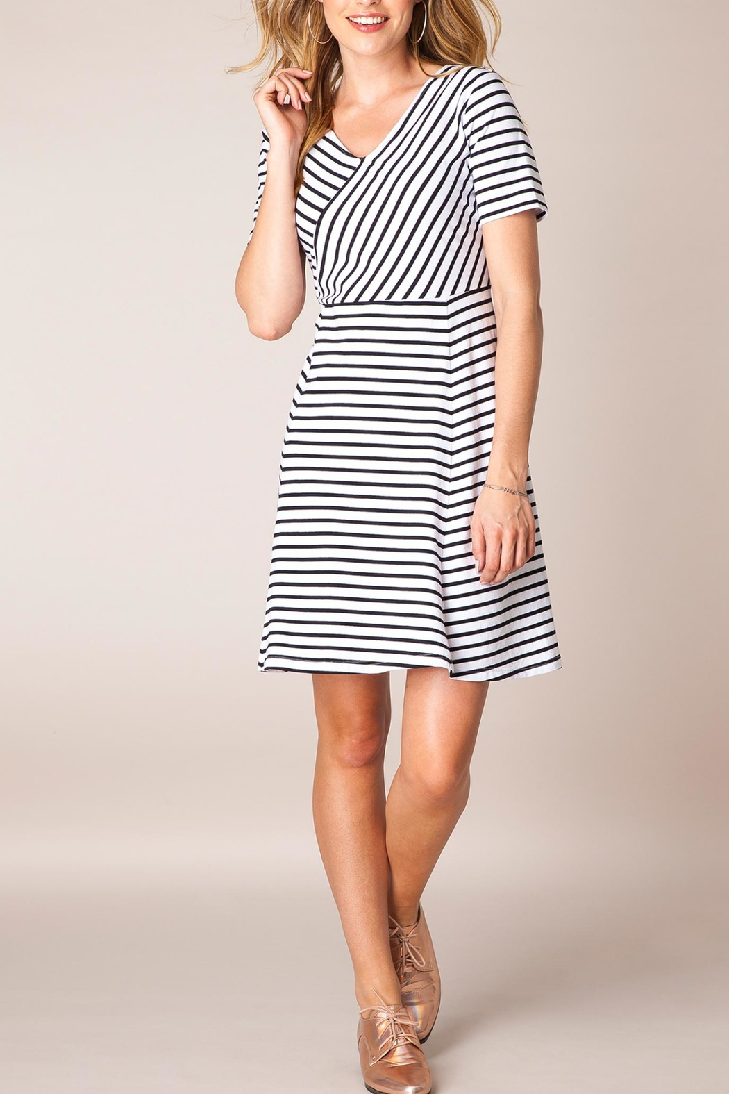 Ivy Beau Striped Flare Dress - Front Cropped Image