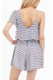 Olivaceous Striped Flirty Romper - Front full body