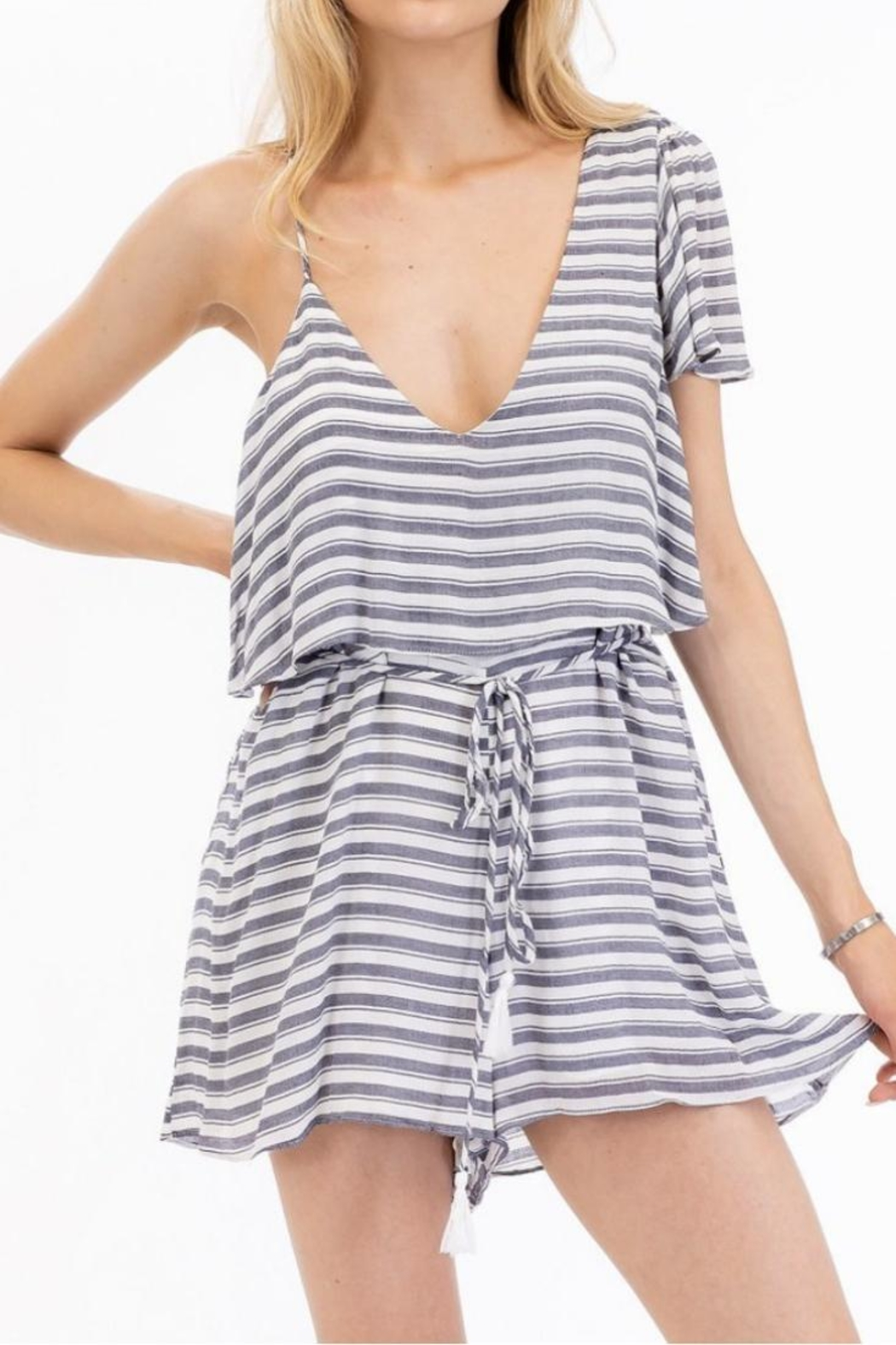 Olivaceous Striped Flirty Romper - Main Image