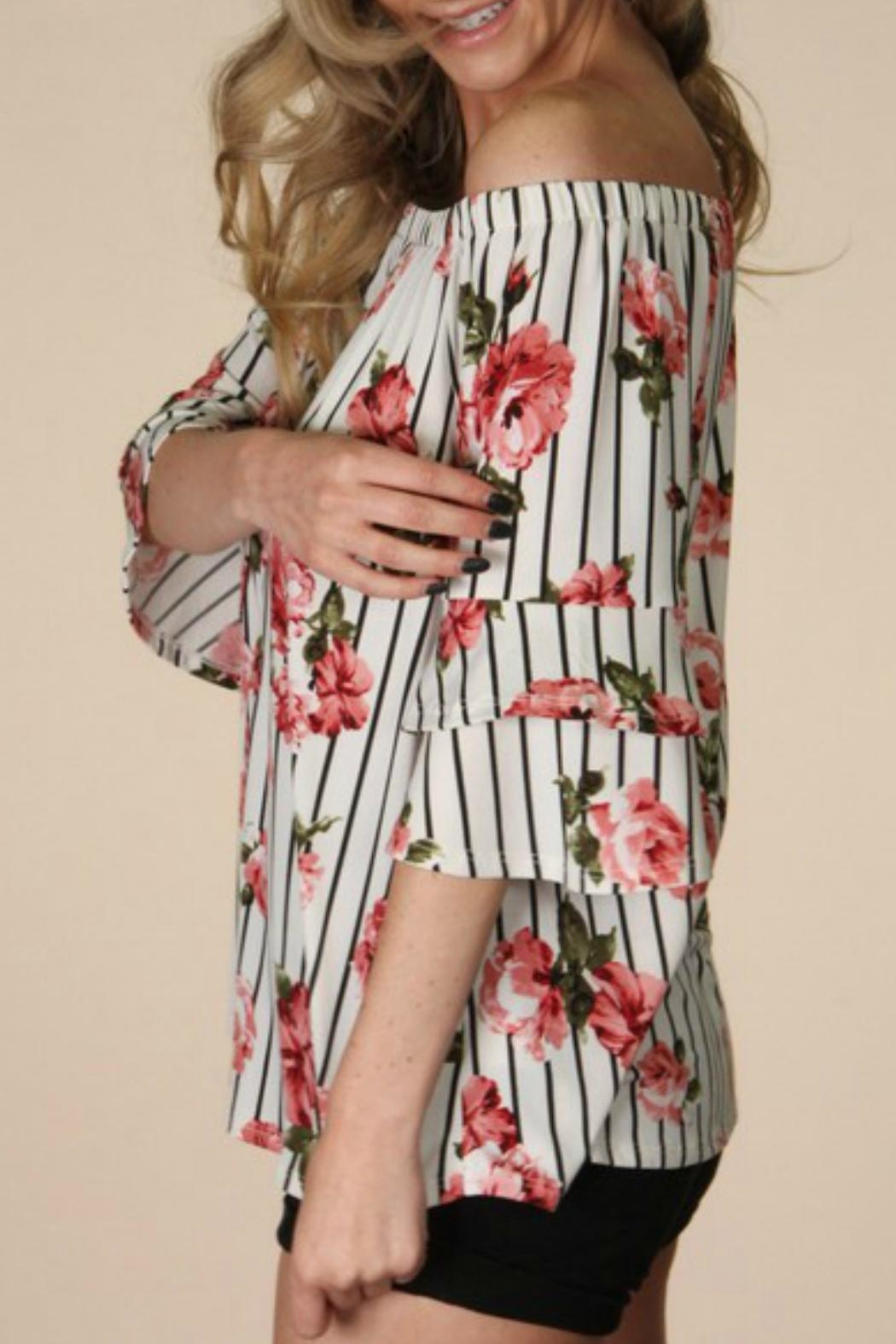 P.S Kate Striped Floral Top - Front Full Image