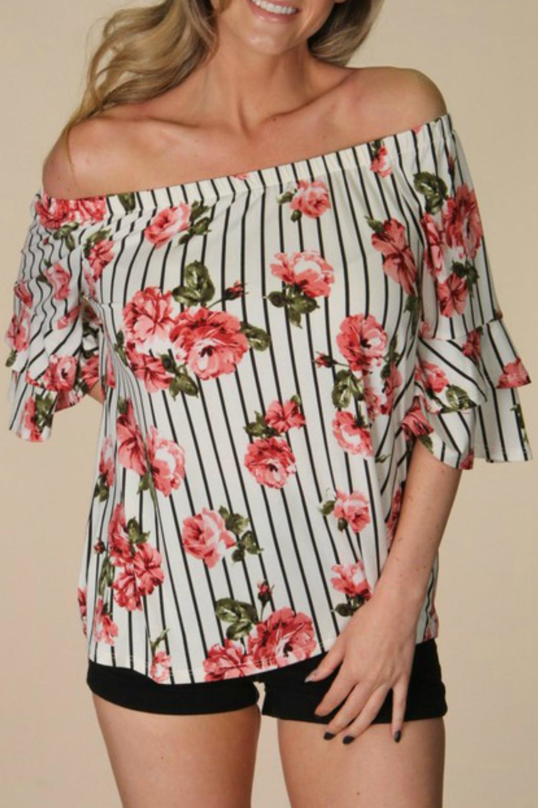 P.S Kate Striped Floral Top - Main Image