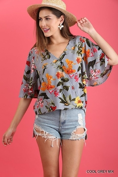 Umgee USA Striped-Floral Wrap Top - Product List Image